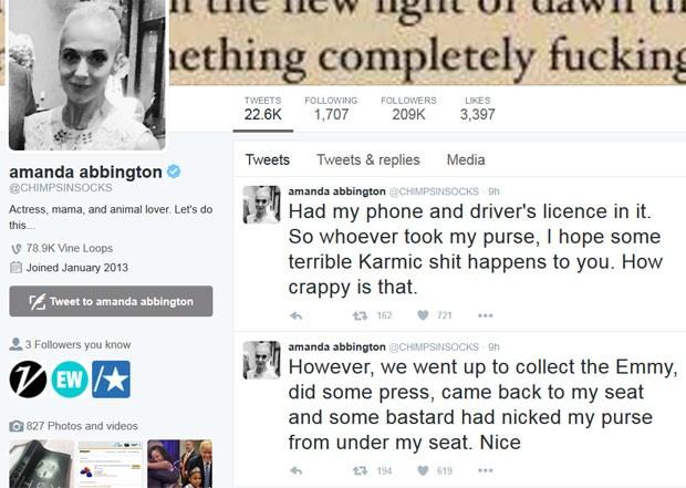 Amanda Abbington, de 'Sherlock', disse que teve bolsa roubada no Emmy (Foto: Reprodução/Twitter/AmandaAbbington)