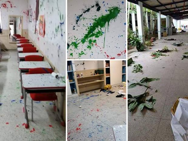 Vândalos depredaram escola infantil de Bertioga (Foto: Arte G1)