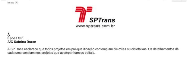 Resposta da assessoria de imprensa da SPTrans ao questionamento que fizemos sobre a ausência de ciclovias nos documentos apresentados pelo órgão (Foto: Reprodução)