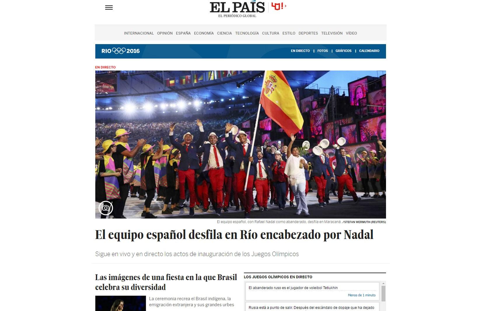 O 'El País' destacou a presença da delegação espanhola na cerimônia de abertura da Olimpíada do Rio