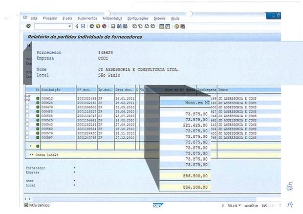 Tabela de pagamentos da Camargo Corrêa para a JD Consultoria. A empreiteira pagou R$ 886.500 para Dirceu em dez meses (Foto: Época)