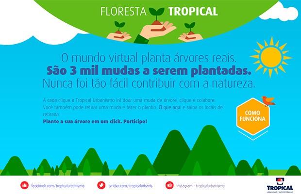 Página da ação da Tropical Urbanismo tem o objetivo de contribuir com o plantio real de árvores, em Goiânia, Goiás (Foto: Arte/Tropical Urbanismo)
