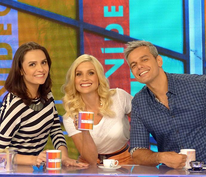 Monica Iozzi, Flávia Alessandra e Otaviano Costa na bancada do Vídeo Show (Foto: Cristina Cople / Gshow)