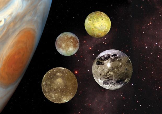 Cientistas acreditam que luas de Júpiter e de Saturno podem ter ambientes propícios para a formação de vida; ilustração mostra quatro maiores luas de Júpiter (Foto: Nasa/Divulgação)