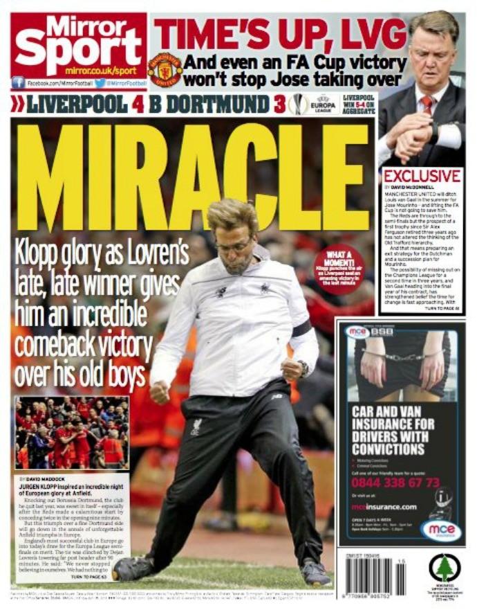 "BLOG: ""Milagre"": Jürgen Klopp estampa capa de jornal após virada histórica do Liverpool"