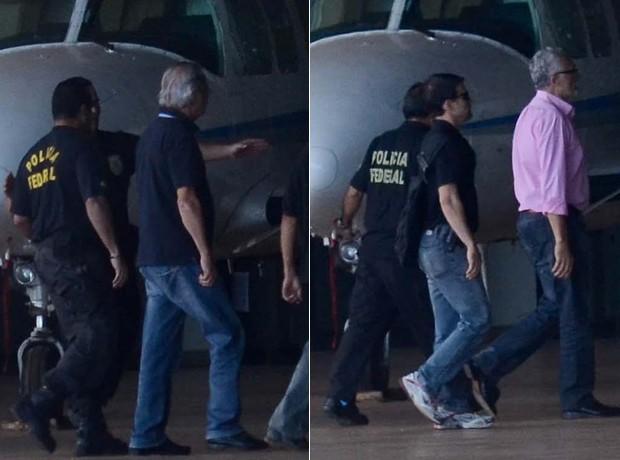 Dirceu e Genoino desembarcam no aeroporto de Brasília (Foto: Pedro França/Futura Press)