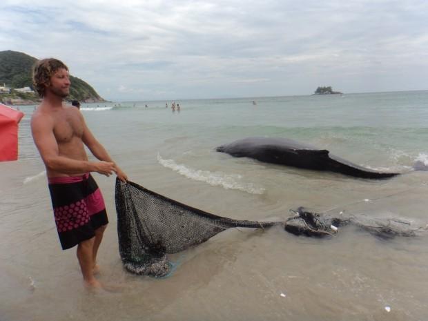 Pescadores foram os primeiros a localizar filhote de baleia em Guarujá (Foto: Arquivo Pessoal / Andrea Maranho)