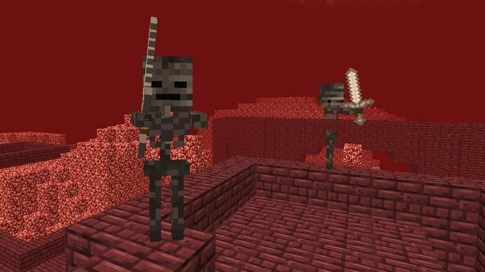 Esqueletos Wither já são bem difíceis de enfrentar e não ajuda nada que eles só apareçam no Nether (Foto: Minecraft Kid)