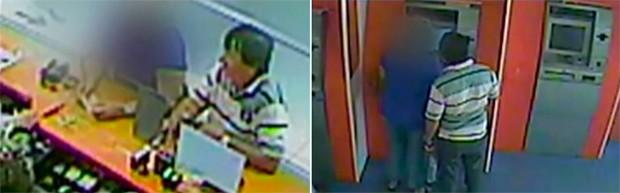 Imagens do suspeito foram gravadas pelo circuito interno de uma agência bancária; vídeo foi divulgado pela polícia (Foto: Reprodução/Inter TV Cabugi)