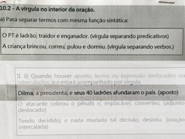Apostila Caraguatatuba apologia contra PT (Foto: Divulgação/Blog do Angelo Rigon)