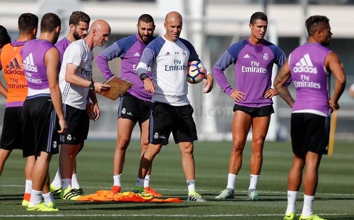 Zidane Cristiano Ronaldo Benzema treino Real Madrid (Foto: Reprodução / Site Oficial)