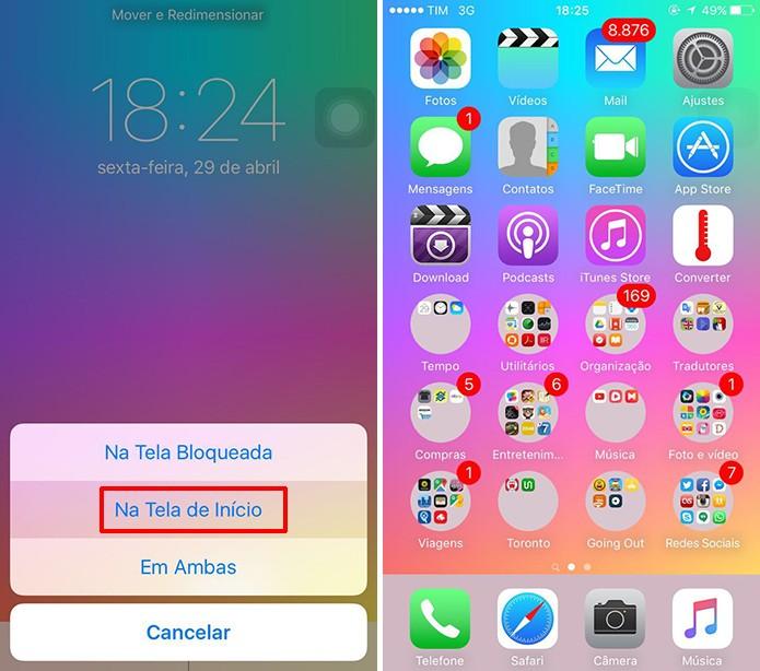 Pastas do iOS ficarão redondas no iPhones após aplicar imagens na tela de início (Foto: Reprodução/Elson de Souza)
