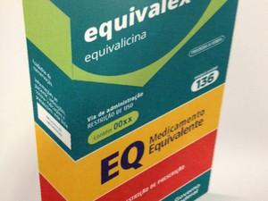Modelo apresentado pelo Ministério da Saúde para ilustrar como será a embalagem do medicamento similar (Foto: Divulgação/Ministério da Saúde)