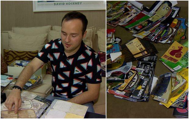 Lucas coleciona rótulos de bebidas (Foto: Amazônia Revista)