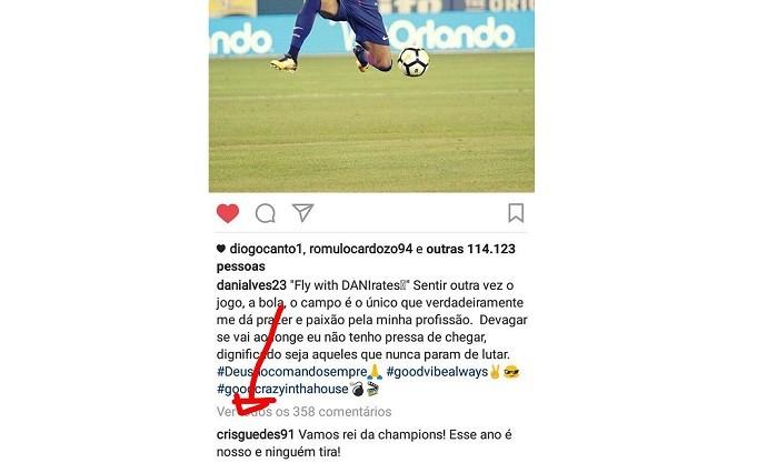 """BLOG: Comentário de """"parça"""" de Neymar em foto de Dani Alves soa como """"dica"""" de saída"""
