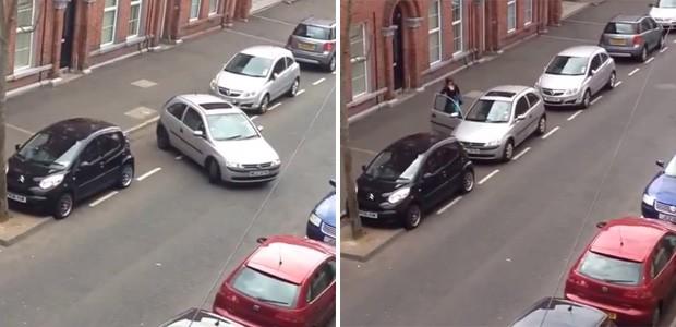 Mulher demorou 30 minutos para estacionar entre dois carros e vídeo de 15 minutos virou sensação na web (Foto: Reprodução/YouTube/Ciarán Shannon)