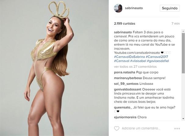 Sabrina Sato: chuva de elogios depois de foto carnavalesca (Foto: Reprodução/Instagram)