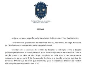 Decisão do STJD suspende Série C e Série D (Foto: Reprodução/STJD)