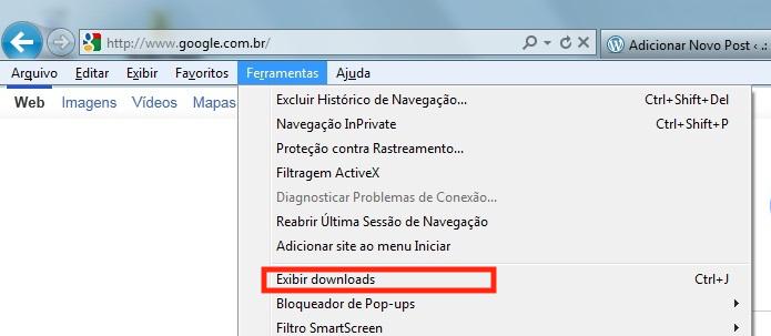 Acessando a opção de downloads do Internet Explorer (Foto: Reprodução/Edivaldo Brito)