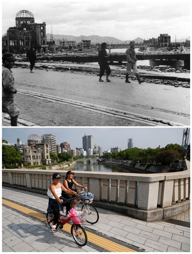 Combinação de fotos mostra a Cúpula Genbaku, hoje chamado Memorial da Paz, depois da explosão da bomba e em julho de 2015 (Foto: REUTERS/Shigeo Hayashi/Hiroshima Peace Memorial Museum/Handout via Reuters/Issei Kato)