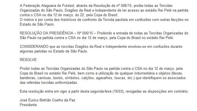 Nota da FAF: CSA x São Paulo (Foto: Divulgação/Site FAF)