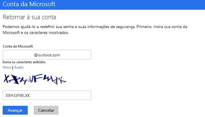 Digitando a conta Microsoft que será redefinida a senha (Foto: Reprodução/Edivaldo Brito)