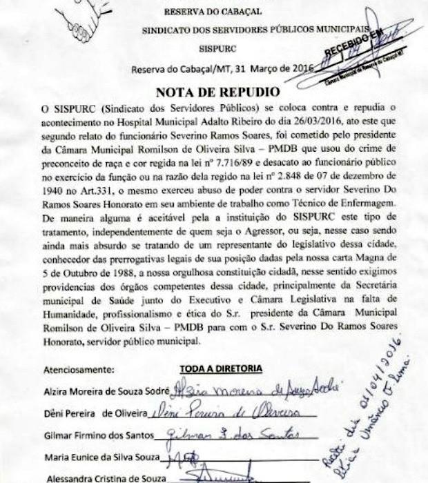Sindicato dos Servidores Públicos Municipais de Reserva do Cabaçal emitiu nota de repúdio à atitude do vereador (Foto: Reprodução)