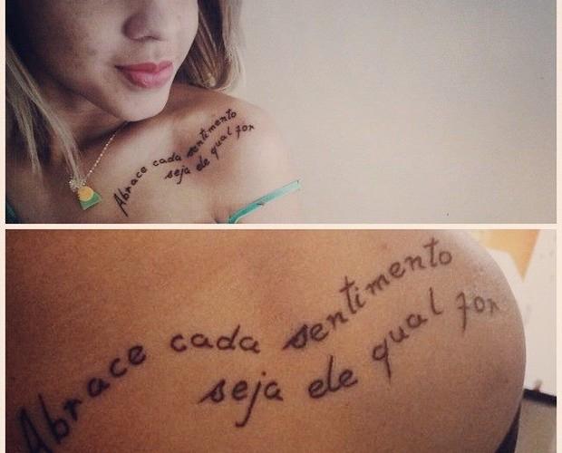Natalia Pimentel tatuou trecho de música ao completar 18 anos (Foto: Arquivo pessoal)