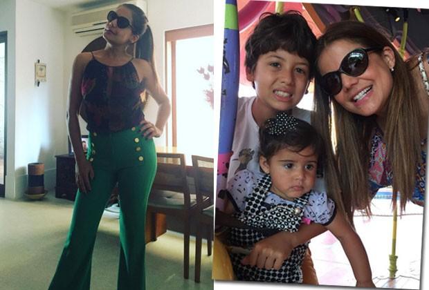 Nívea exibe a boa forma e posa com os filhos Miguel e Bruna (Foto: Reprodução/Instagram)