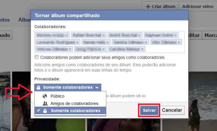 Configurando a privacidade do álbum compartilhado (Foto: Reprodução/Lívia Dâmaso)