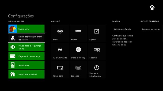 Xbox One: como configurar uma senha de segurança no console (Foto: Reprodução/Murilo Molina)