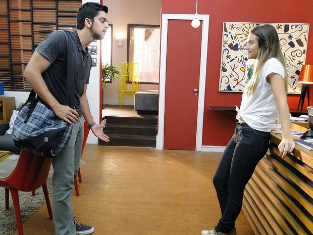 Enciumado, Bruno vai tirar satisfações com Fatinha por beijo em Gil (Foto: Malhação / TV Globo)