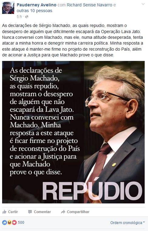 Pauderney Avelino divulgou nota oficial sobre o caso nas redes sociais  (Foto: Reprodução/ Facebook)