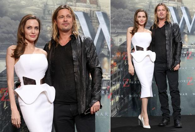 ANGELINA JOLIE E BRAD PITT POSAM PARA OS FOTÓGRAFOS (Foto: Getty Images)