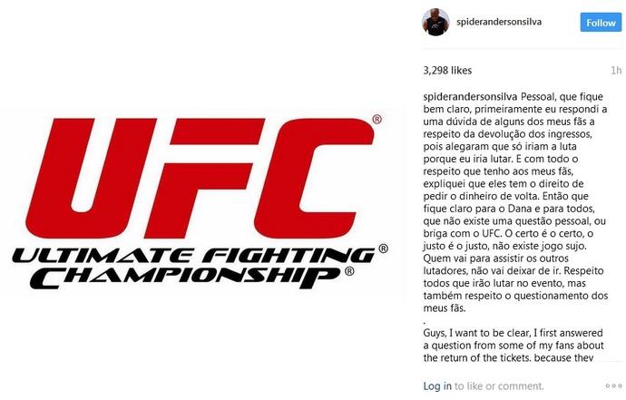 Anderson Silva dá explicação no Instagram (Foto: reprodução/Instagram)