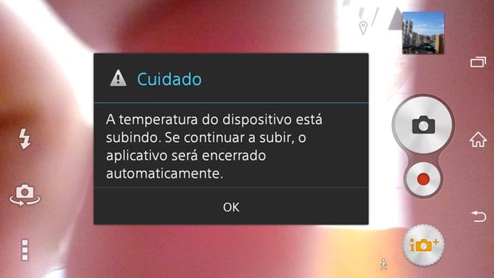 Alta temperatura pode fazer app de câmera travar (Foto: Paulo Alves/TechTudo) (Foto: Alta temperatura pode fazer app de câmera travar (Foto: Paulo Alves/TechTudo))