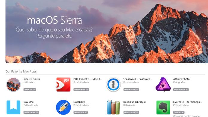 Página do MacOS Sierra na Mac App Store (Foto: Reprodução/Felipe Vinha)