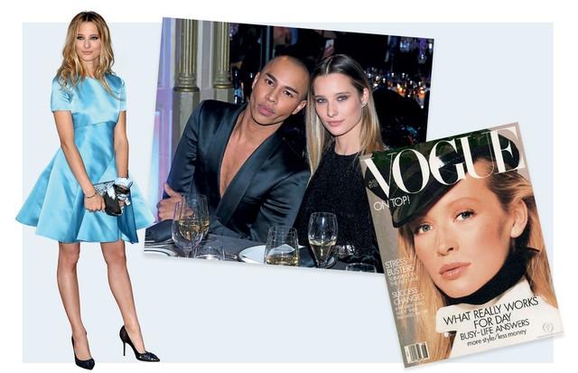 À esquerda, Ilona com vestido Dior, Ao lado, a jovem com o estilista Olivier Rousteing e Estelle em capa da Vogue americana de 1987. (Foto: Gettyimages, Reprodução Instagram e Divulgação)