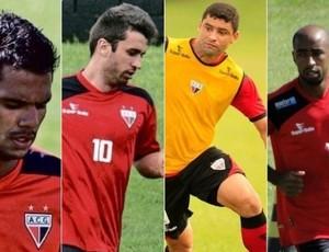 Atlético-GO dispensa Fernando Bob, Elias, William e Paulinho (Foto: Arte: Fernando Vasconcelos / GLOBOESPORTE.COM)