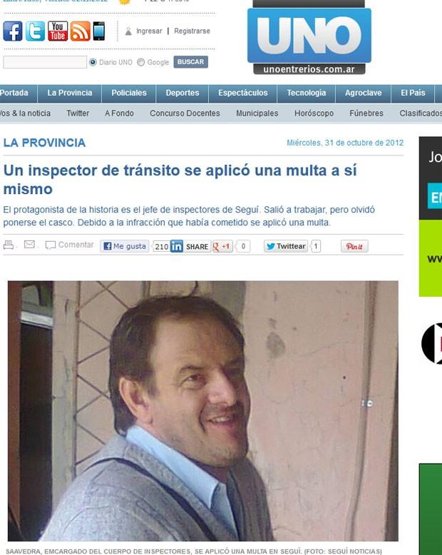 Jorge Saavedra denunciou a si mesmo por dirigir sem capacete  (Foto: Reprodução)