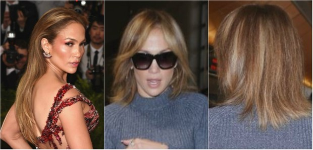 Antes e depois: Jennifer Lopez corta os cabelos (Foto: Getty Image e X-17)