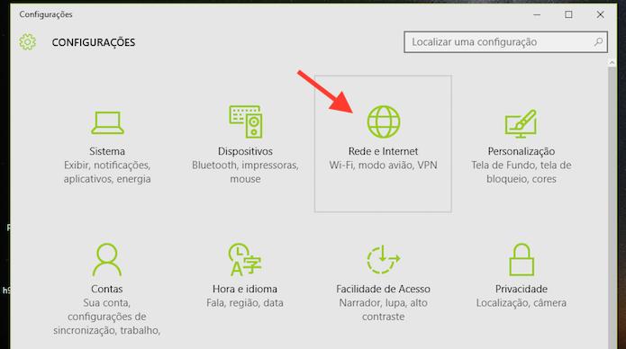 Acessando as opções de rede e internet do Windows 10 (Foto: Reprodução/Marvin Costa)