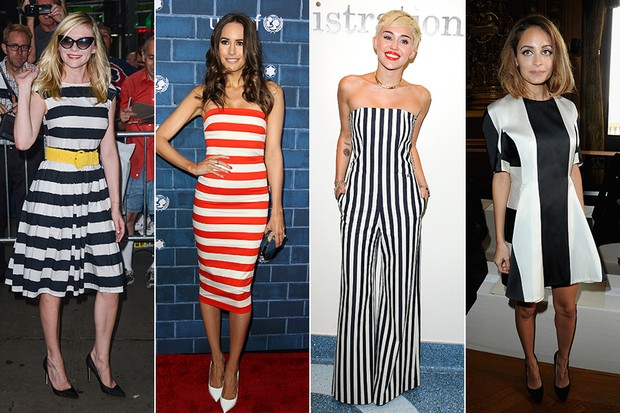 Kirsten Dunst, Louise Roe, Miley Cyrus e Nicole Richie - Famosas usando listras (Foto: Agência Getty Images)
