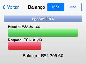 Just Money mostra a diferença entre ganhos e gastos (Foto: Reprodução)