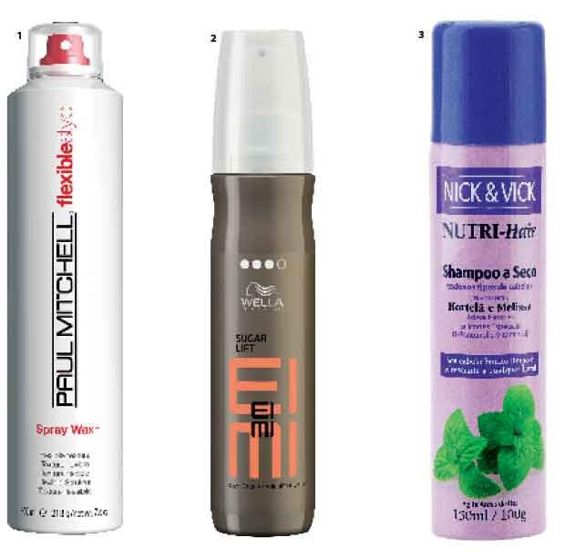 1. Cera em Spray Flexible Style, Paul Mitchell, R$ 70  2. Spray de açúcar Sugar Lift Eimi, Wella, R$ 106  3. Shampoo a Seco, Nick & Vick, R$ 42 (Foto: Jonas Bresan)