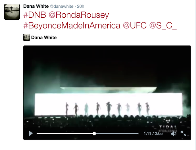 Dana White Beyonce Ronda Rousey Twitter