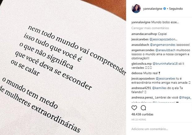 Mariana Goldfarb, Giovanna Lancellotti e Yanna Lavigne publicam mesma frase (Foto: Reprodução/Instagram)