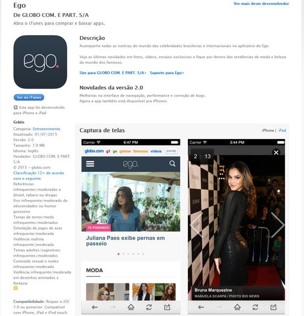 Aplicativo do Ego pode ser baixado na App Store para iOS (Foto: Reprodução)