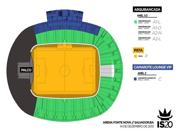 Mapa das zonas de ingressos (Foto: Divulgação / Ivete Sangalo)