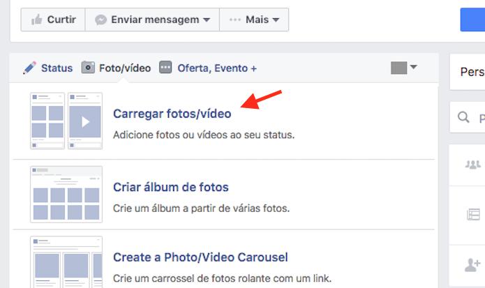 Acesse a opção para carregar vídeos como publicação em uma página do Facebook (Foto: Reprodução/Marvin Costa)